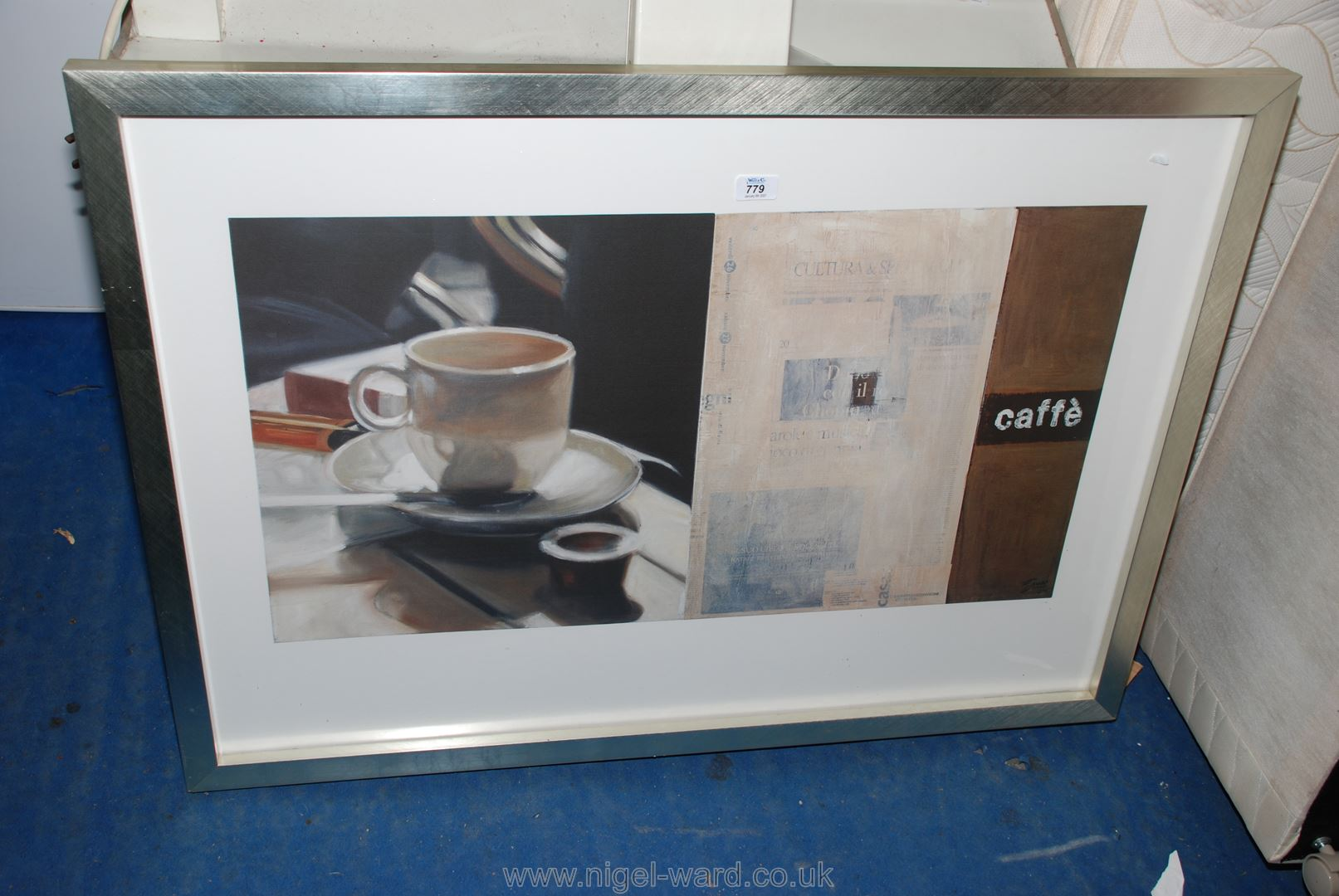 "A large framed cafe picture, 42"" x 30""."