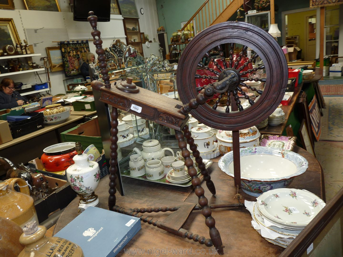 A rare Mordiss Industries Spinning Wheel, circa 1880, 33'' high overall,