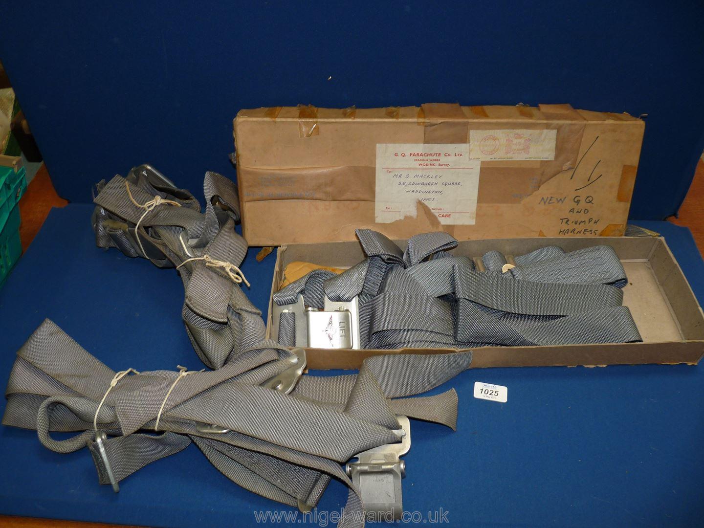 Three parachute Harnesses by G.Q. Parachute Co. Ltd, one boxed.