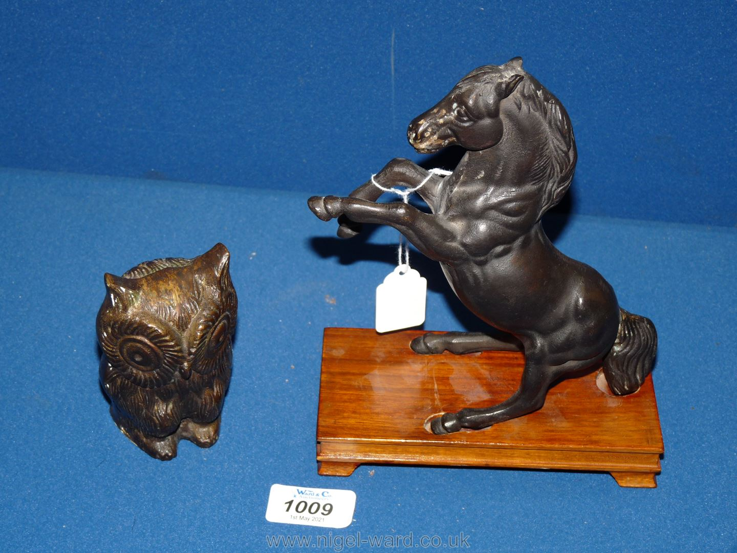 """A bronzed figure of a Horse rearing on wooden plinth, 8"""" tall with base,"""
