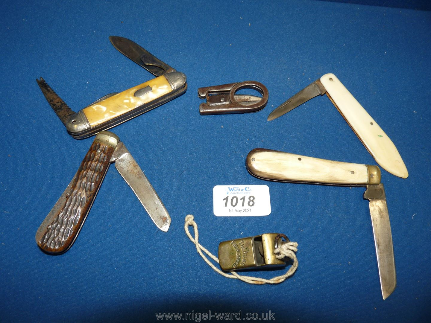 Two Lamb Foot penknives, a bone handled penknife, Thunderer whistle, - Image 2 of 2