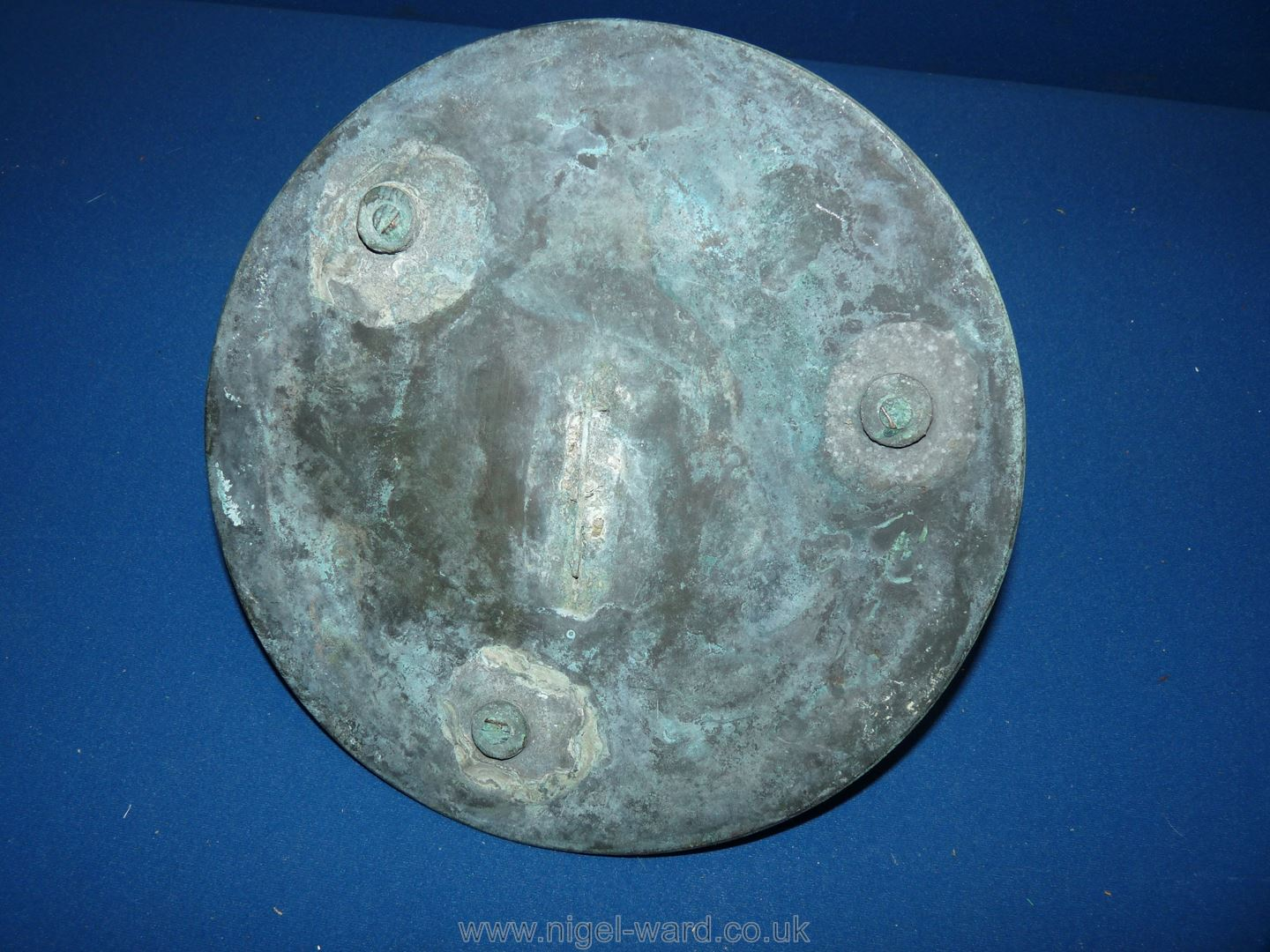 An antique bronze Sundial with weathered green patina, - Image 3 of 3