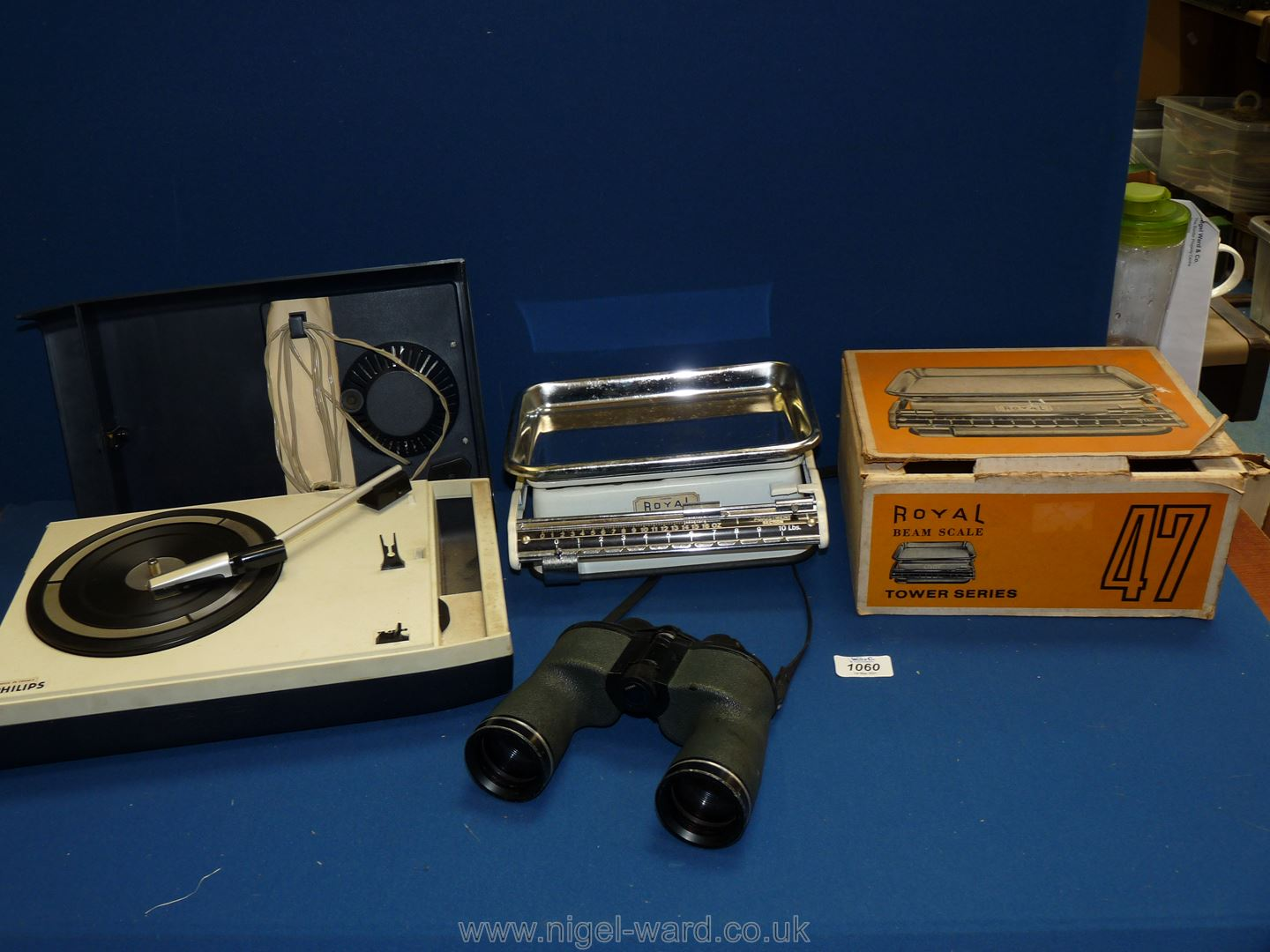 A vintage Philips record player, battery operated, Royal Beam scales, boxed,