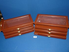 """Two individual specimen Trays/boxes, each with three drawers, 15"""" x 4 1/2"""" tall x 7 1/2""""."""