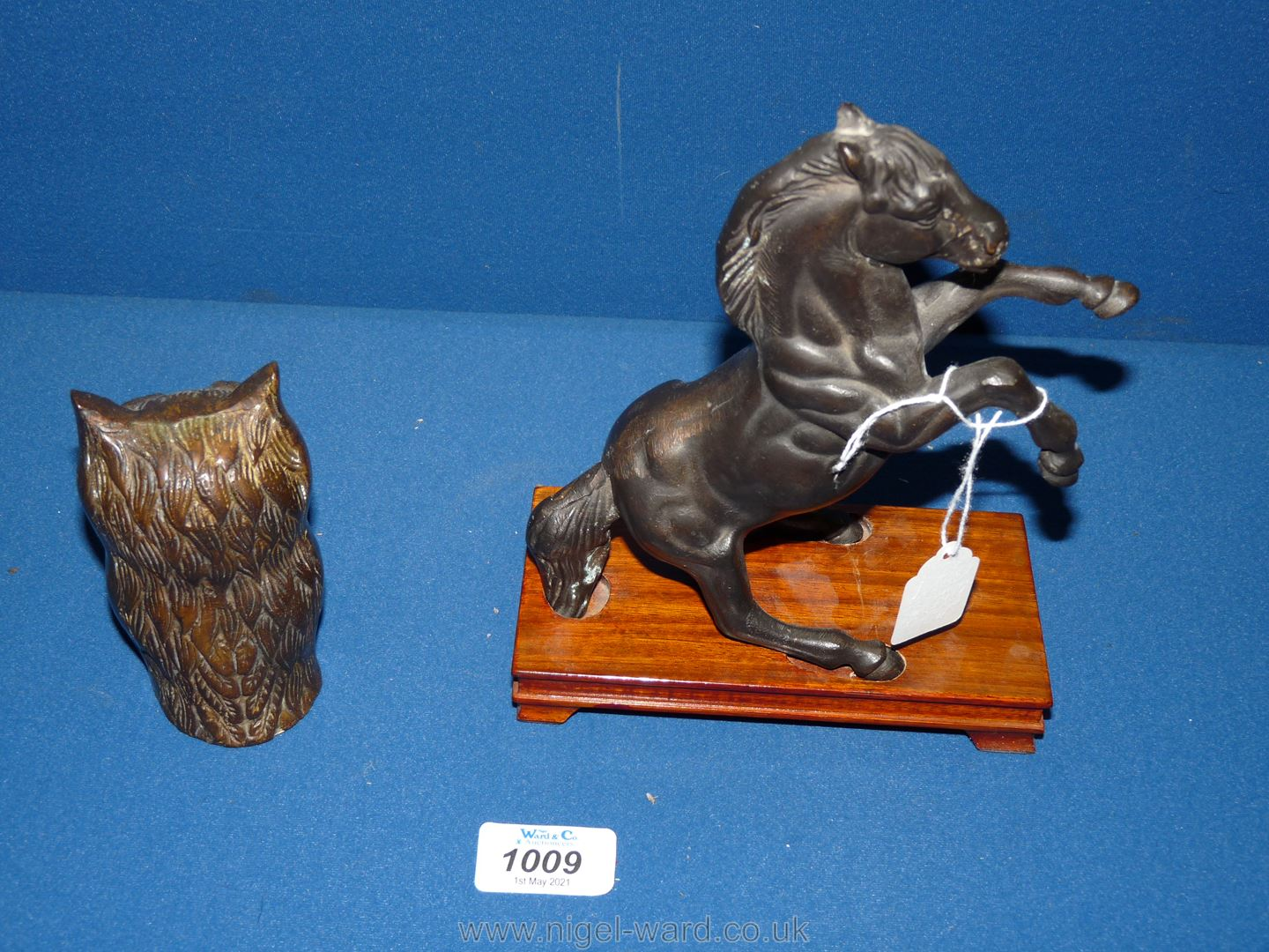 """A bronzed figure of a Horse rearing on wooden plinth, 8"""" tall with base, - Image 3 of 3"""