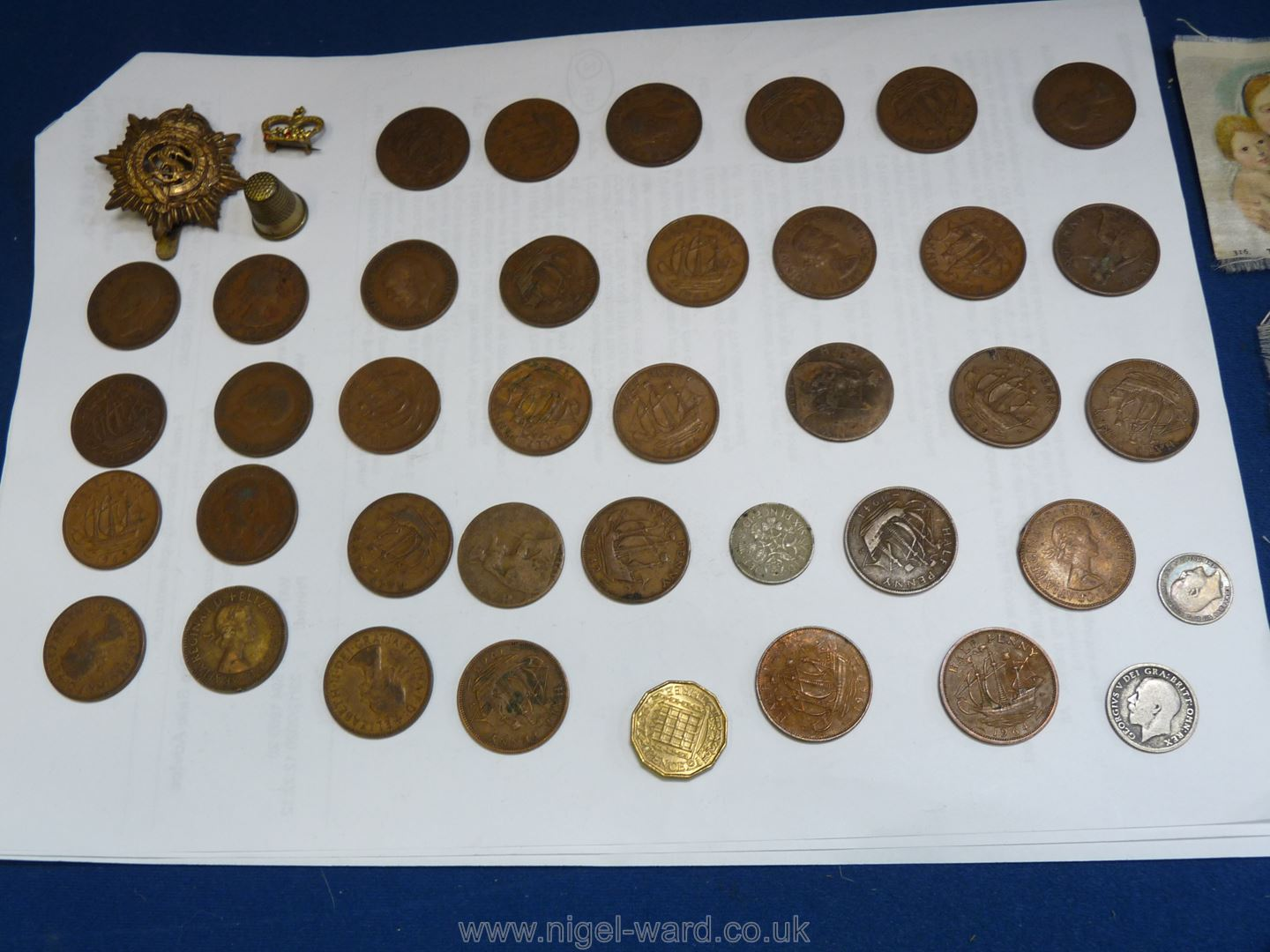 An Order of the Garter badge together with a quantity of half pennies, silver 3d piece, 3p bit, - Image 2 of 2