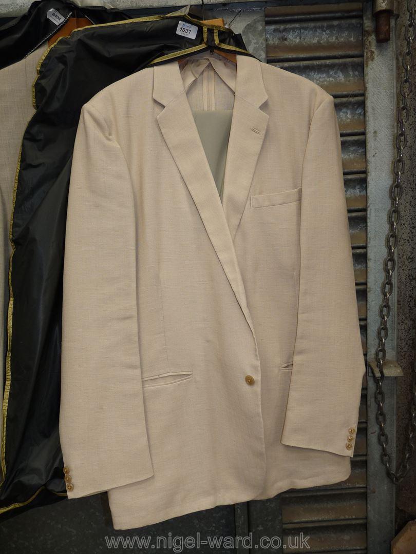 """A gents linen/polyester blend 'Springbak' Jacket with M&S light green trousers, waist 40"""","""
