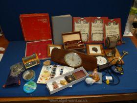 A quantity of miscellanea including Smiths mantle clock, vintage crayon box, paint pallet,