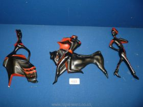 Three Bossons black and red wall hangings including Bullfight,