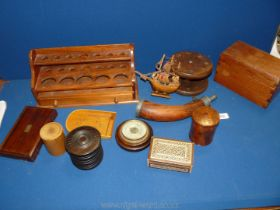A quantity of Treen including sample stand, pen stand, powder horn, barometer, lidded boxes,