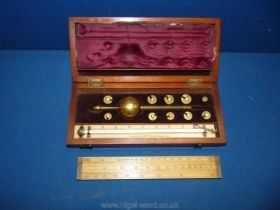 A Mahogany boxed Sike's Hydrometer by F.