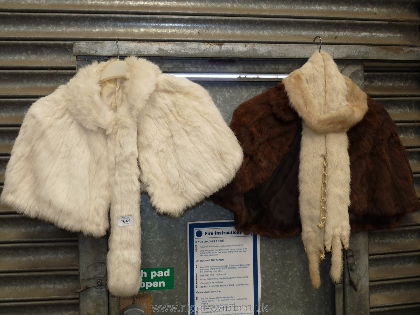 Two vintage fur capes plus one fur collar and a tippet.