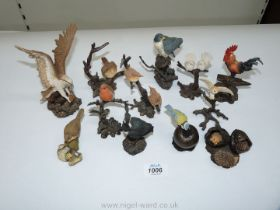 A quantity of Bowbrook figures mostly of birds including robin, barn owl, eagle and a hedgehog.