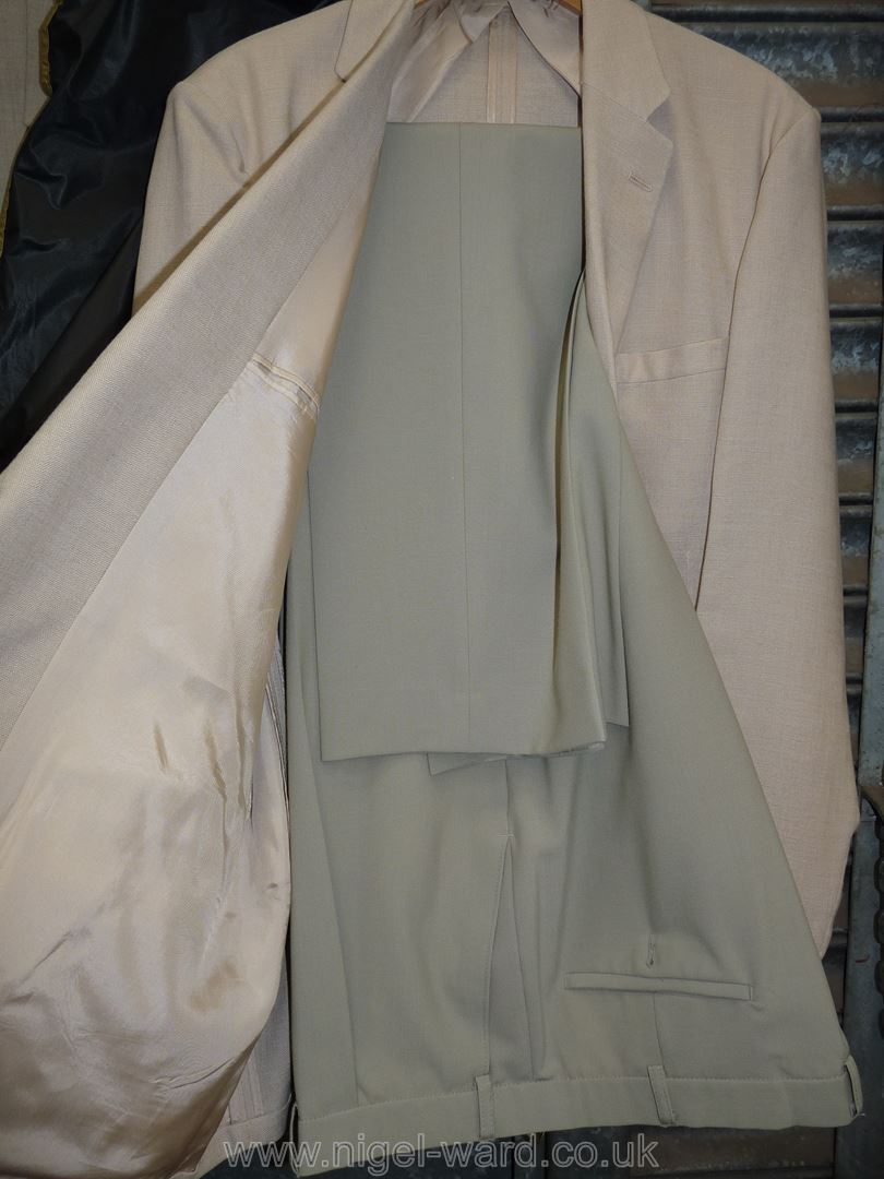 """A gents linen/polyester blend 'Springbak' Jacket with M&S light green trousers, waist 40"""", - Image 2 of 2"""