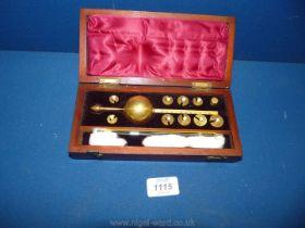 A Mahogany boxed Sike's Hydrometer by Loftus, Oxford Street, London,