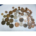 A small quantity of coins including ha'penny pieces,