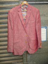 A Brook Taverner pink linen Jacket, size 44 R, cream Per Una Mackintosh,