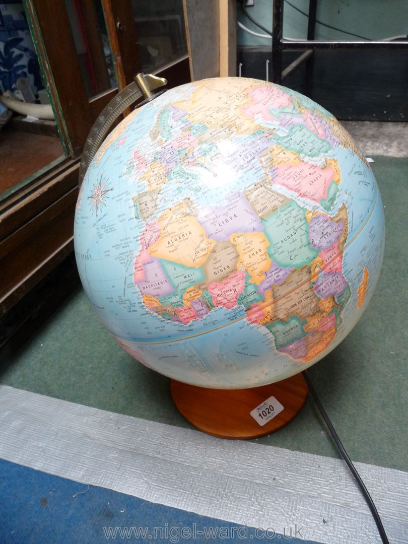 An illuminated 'The Political world' globe by Micador with raised mountain ranges. - Image 2 of 3