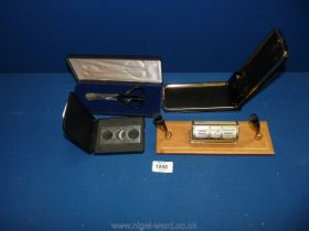 A boxed pen set with cigar cutter by H.