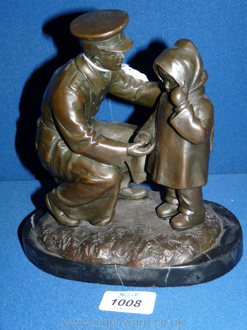 A Bronze figure of a soldier helping a young child, on marble plinth, 'H. - Image 2 of 5