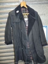 A Barbour trench coat in navy blue, size 40 long.