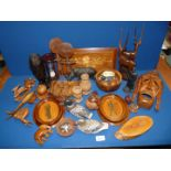 A quantity of treen including wooden animals, hourglass, marquetry wall hanging plaque etc.