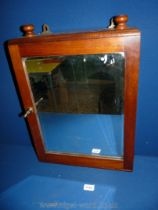 A darkwood glazed door Wall Cabinet with two shelves, 19'' x 1 1/2'' x 4 1/2''.