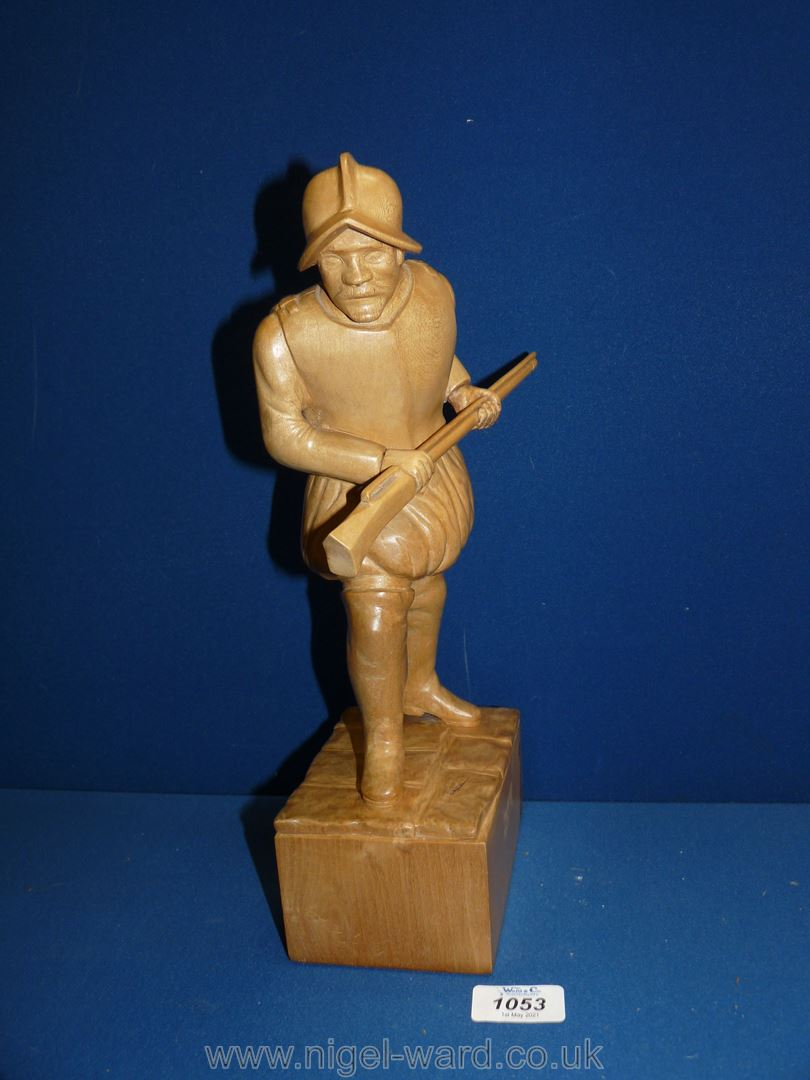 """A carved lime wood figure of a Conquistador, 13 1/2"""" high. - Image 2 of 2"""