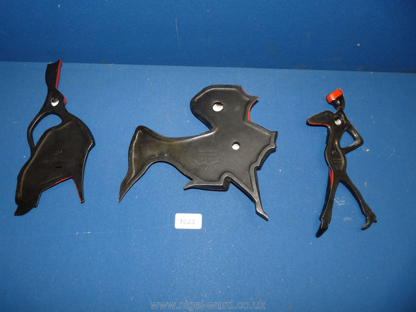 Three Bossons black and red wall hangings including Bullfight, - Image 2 of 5