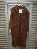 A Backhouse Stockman coat, brown with hood, size medium.