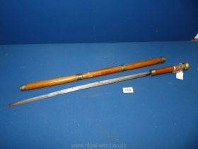 A Bamboo Sword Stick with spring release mechanism and three brass collars and knop,