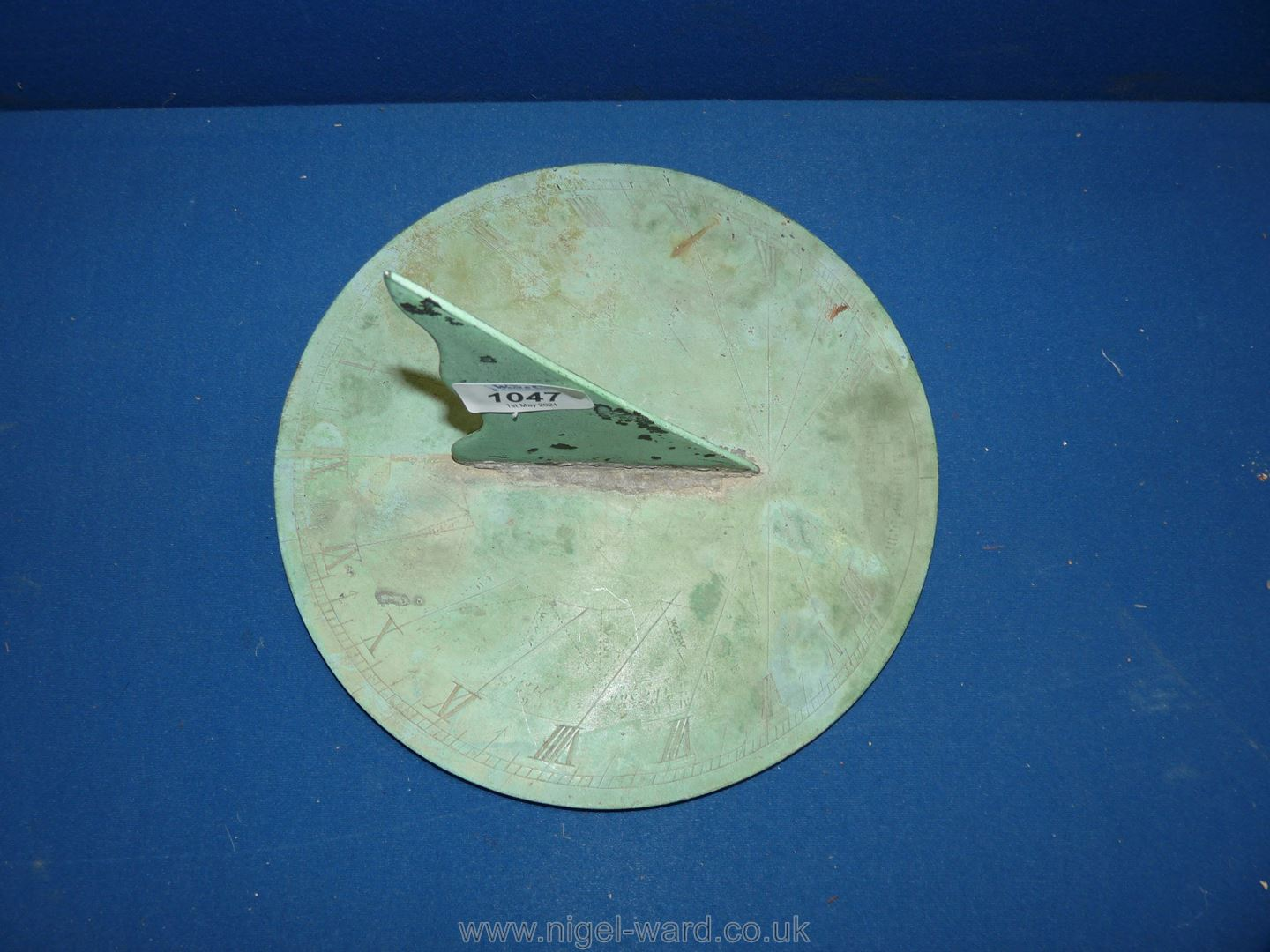 An antique bronze Sundial with weathered green patina, - Image 2 of 3