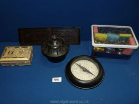 A quantity of miscellanea including Bakelite pot, barometer and cribbage board,