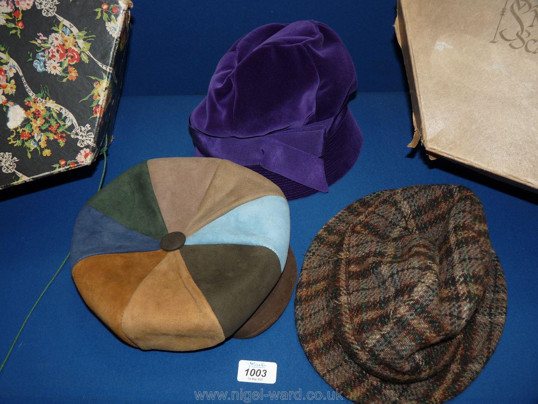 Two vintage Hat Boxes including a purple velvet hat, Edward Mann leather cap, sheepskin cap, etc. - Image 2 of 2