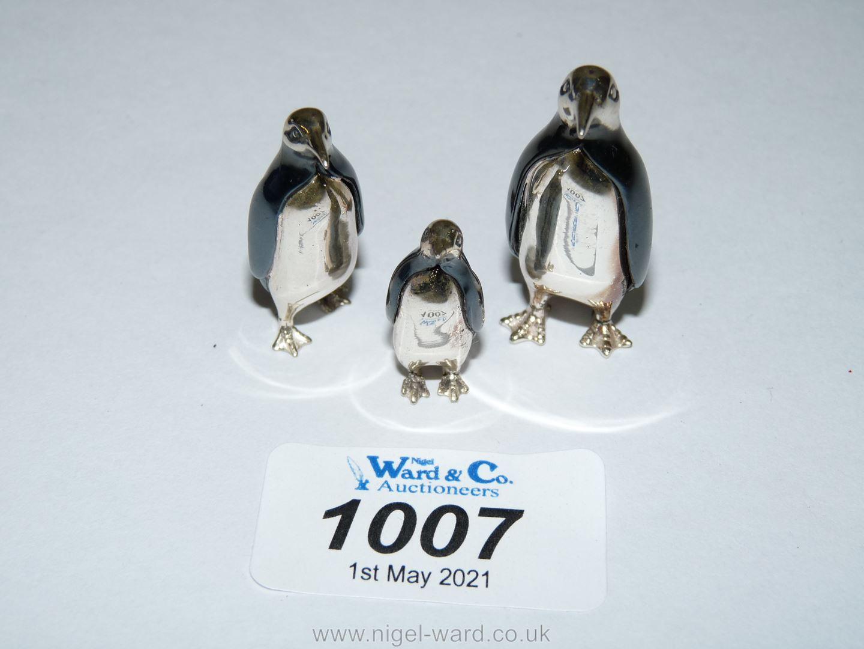 """Three miniature graduated Saturno Silver Oxidised Penguin ornaments, large 13/4"""" tall,"""