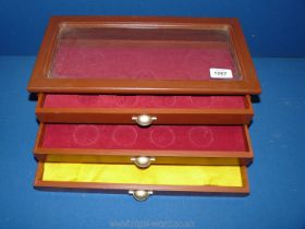 """An individual coin Tray/box with three drawers, 15"""" x 4 1/2"""" x 7 1/2""""."""
