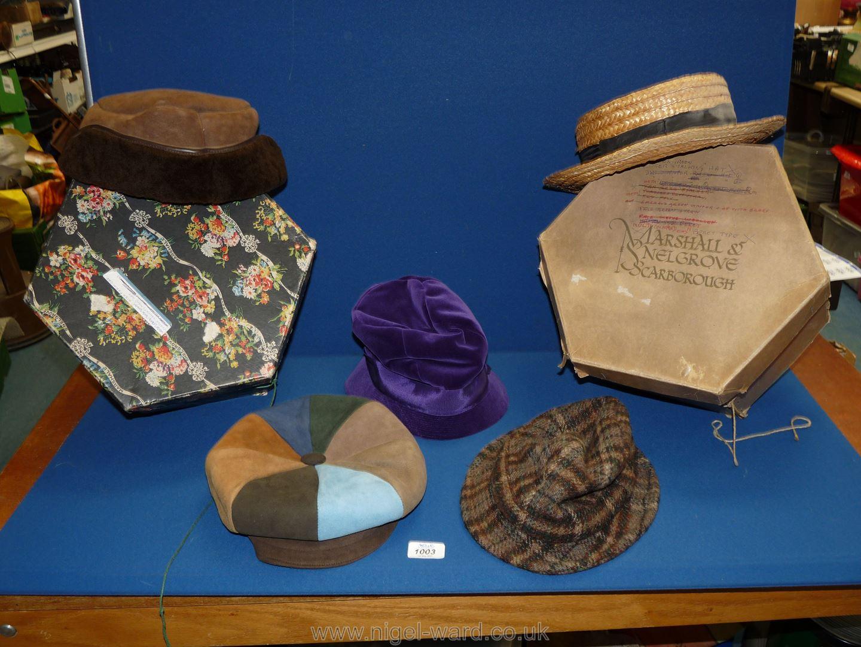 Two vintage Hat Boxes including a purple velvet hat, Edward Mann leather cap, sheepskin cap, etc.