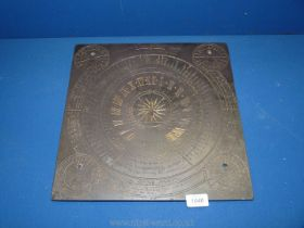 A Victorian slate Sundial engraved Fred'k Hollins 1868,