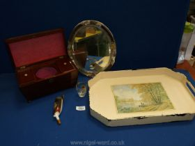A cream tray with wooden tea caddy, mirror, ceramic pipe etc.