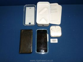 An Apple iPhone 5C, 8GB, blue, locked to Vodafone,