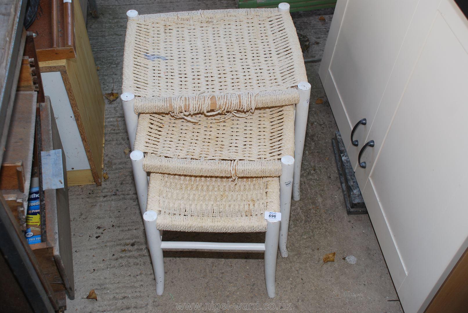 A nest of three stringwork stools a/f.