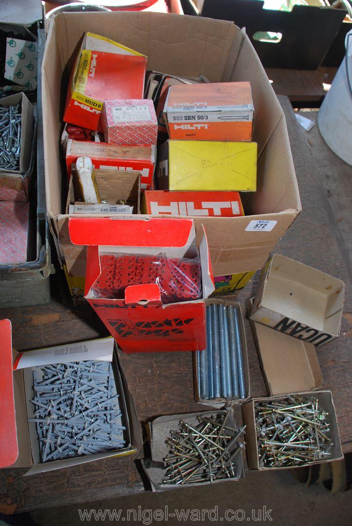 A box of Hilti nails, anchor bolts etc.