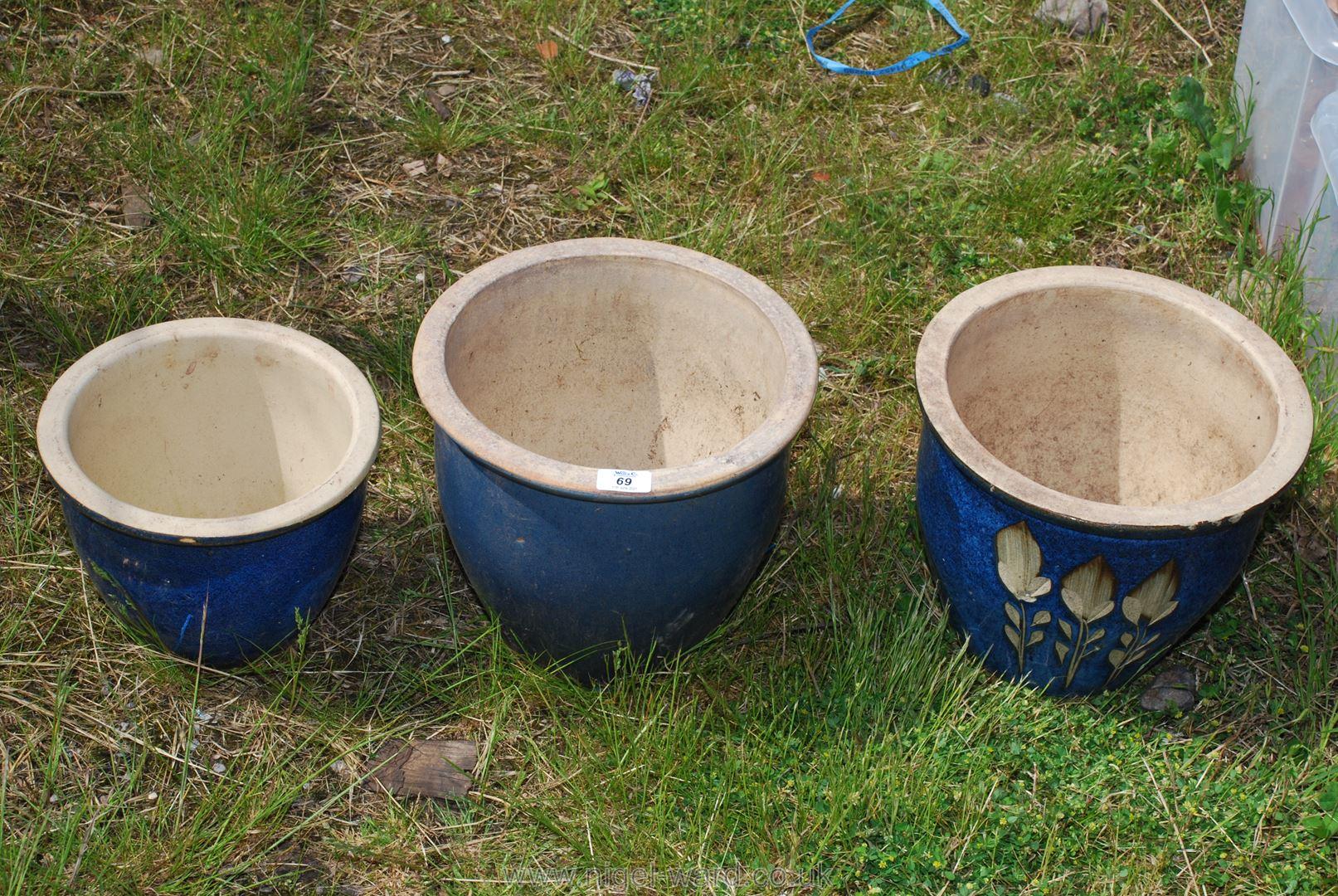 Three glazed Planters.