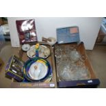 A box of glass including part dressing table set, pestle and mortar, large coloured bowls etc.