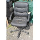 An office Chair, in black.