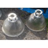 Two industrial glass Light Shades, 19'' diameter.
