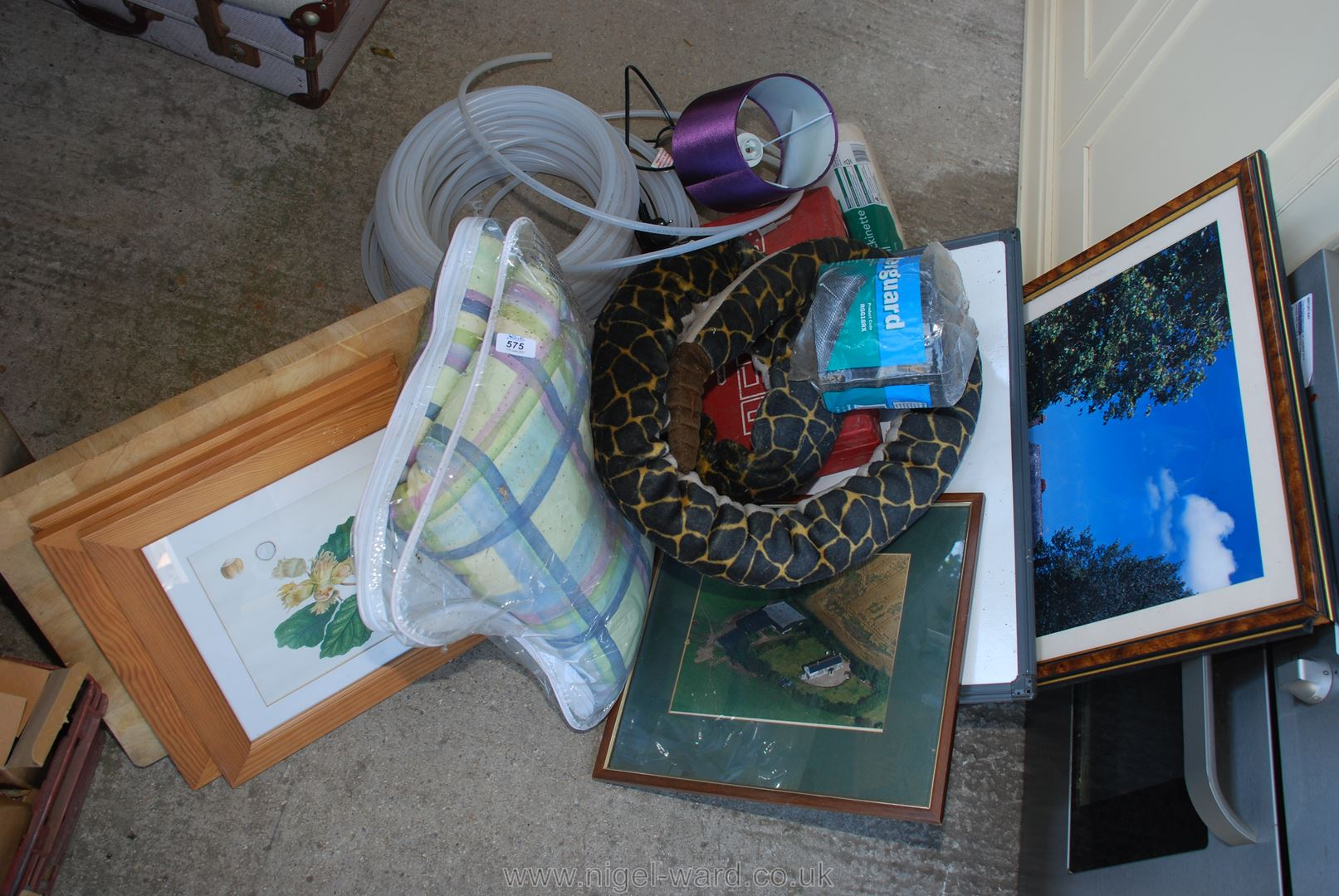 A box of various pictures, cushions, hose, lamps etc.