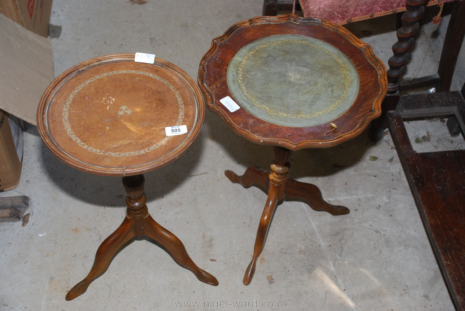 Two small wine tables.