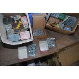 Two boxes of various wood screws, fixings etc.