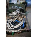 A quantity of extension leads and a planer, cased.